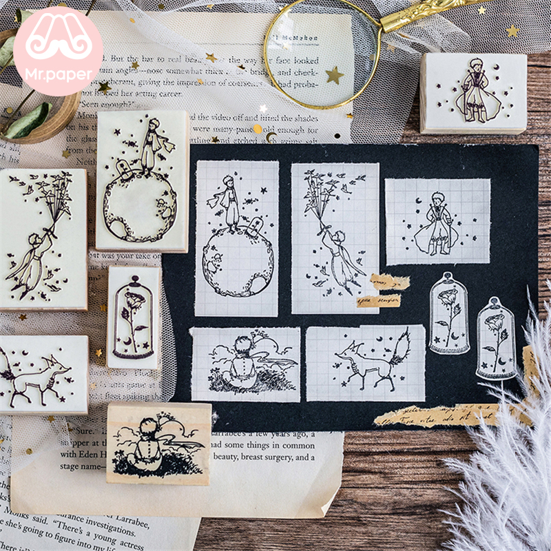 Mr Paper Dreamy Cartoon Little Prince Rose Fox Wooden Rubber Stamps for Scrapbooking Decoration DIY Craft Standard Wooden Stamps 1