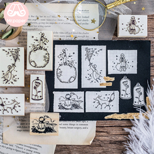 Mr Paper Dreamy Cartoon Little Prince Rose Fox Wooden Rubber Stamps for Scrapbooking Decoration DIY Craft Standard