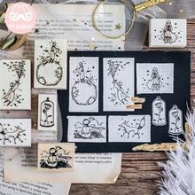 Мистер бумаги мечтательный мультфильм Маленький принц Роза Лис деревянные резиновые штампы для украшения скрапбукинг DIY ремесло стандартные деревянные штампы