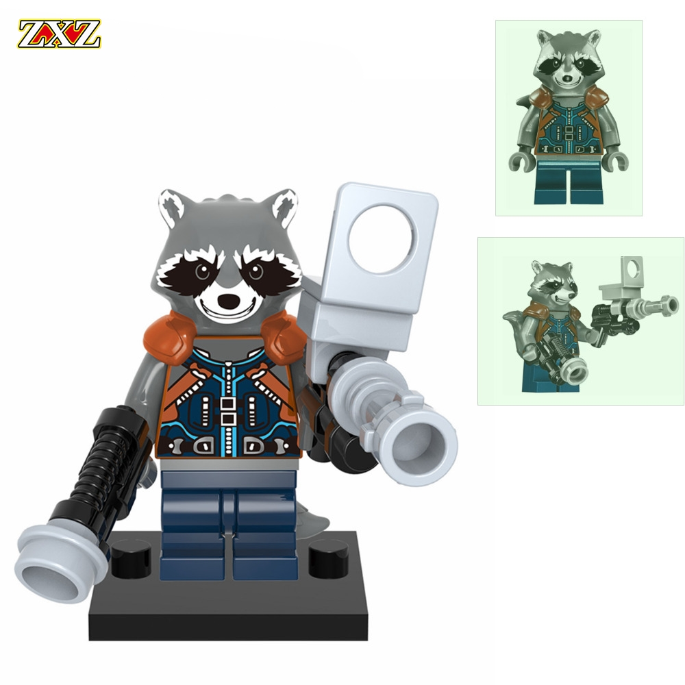 Rocket Racoon Legoingly Single Sale Superheroes Guardians of the Galaxy Bounty Hunter Building Blocks Toys for Children XH607 roomble люстра racoon white