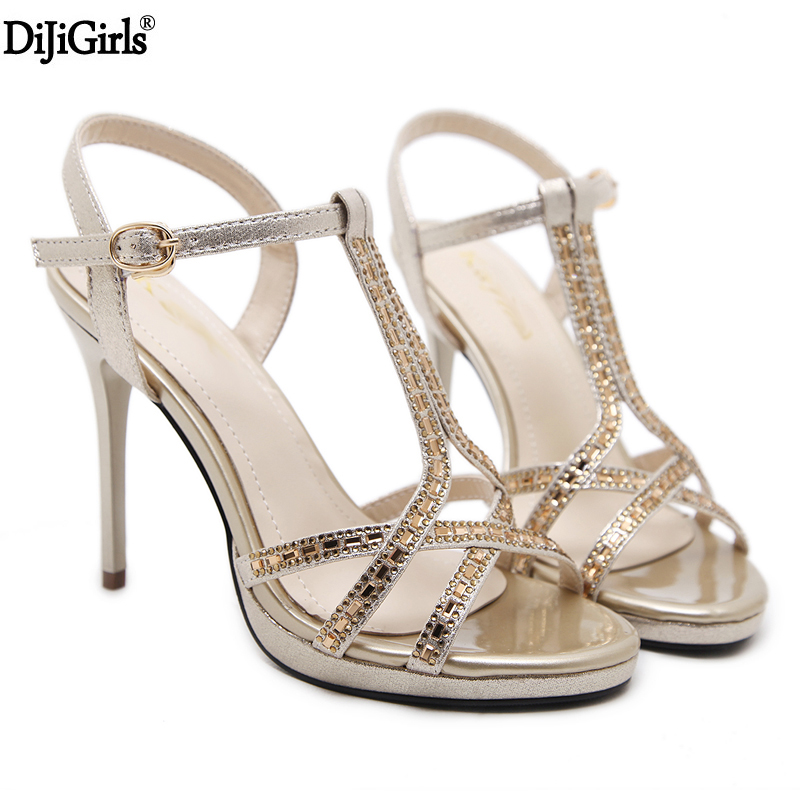цена на 11cm High Heels Summer T-Strap Women Shoes For Party Pumps Wedding Shoes Sexy Ladies Rhinestone Sandals Black/Gold Shoes