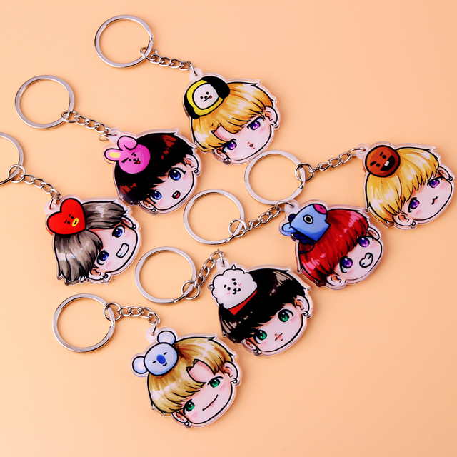 Acrylic Anime Cute Keychain Love Yourself Porte Clef Key Chain 5