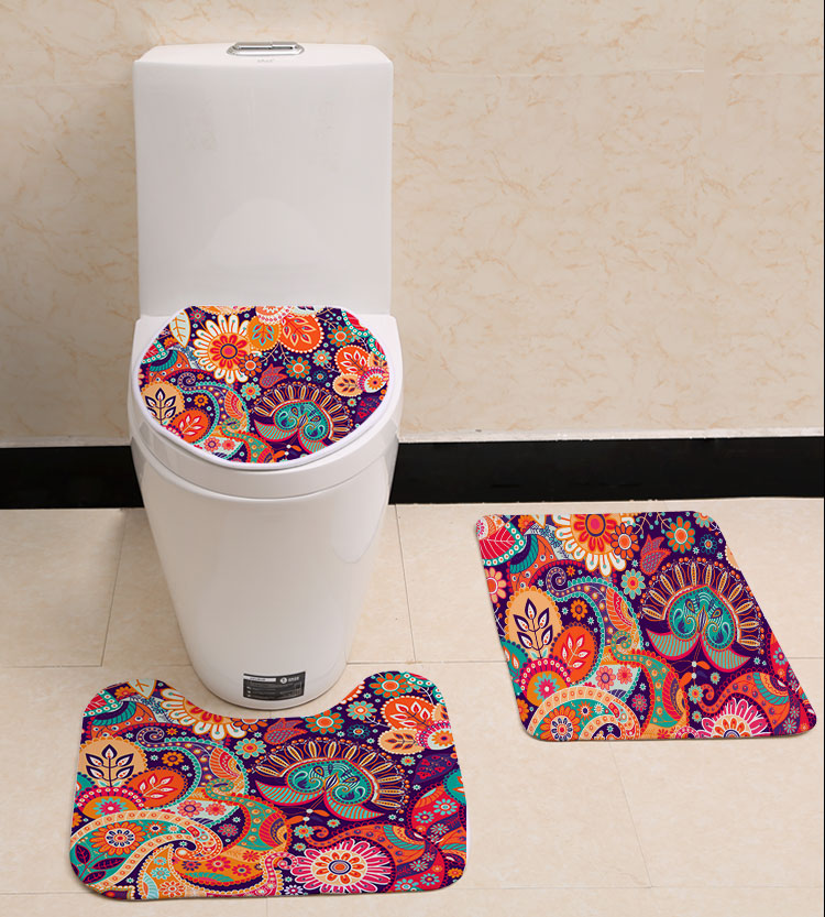 3pcs Indian Design Printing Toilet Sets Cover Flannel