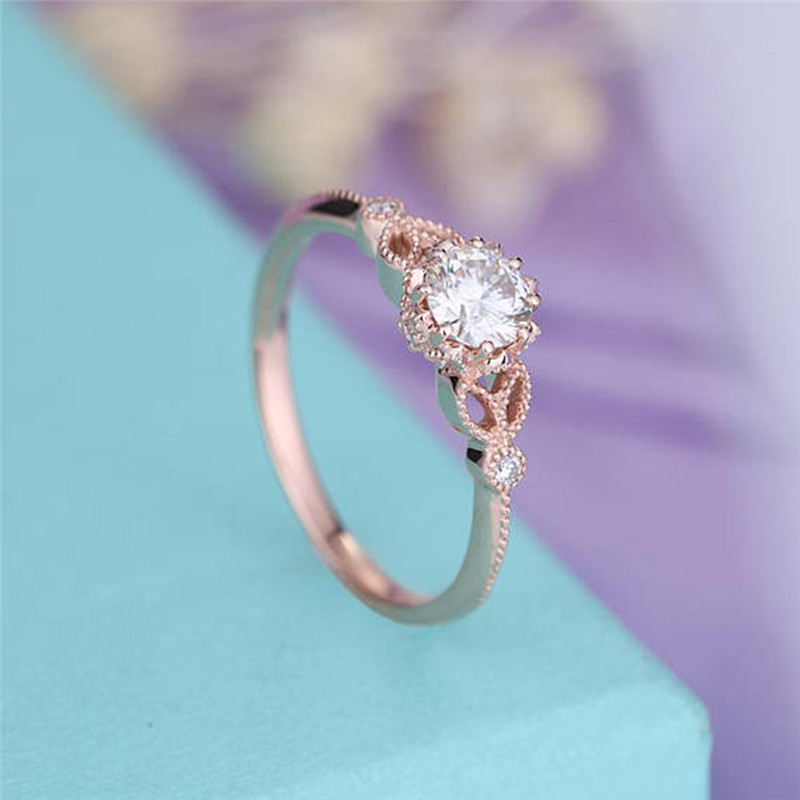BOAKO Vintage CZ Rose Gold Color Thin Ring Womens Boho Rings For Women Simple Jewelry Ring Fine Jewelry Girls Ladies Gifts X7-M2