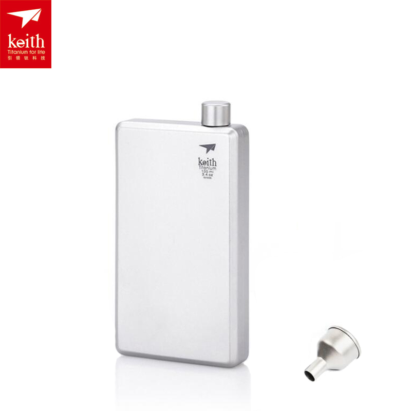 Keith Titanium Hip Flask Outdoor Camping Sport Pocket Alcohol Whiskey Flask Wine Bottle 3.04oz/100ml tito titanium bottle bicycle drinkware bottle outdoor camping cycling hiking sport bike titanium lid 750ml titanium bike bottle