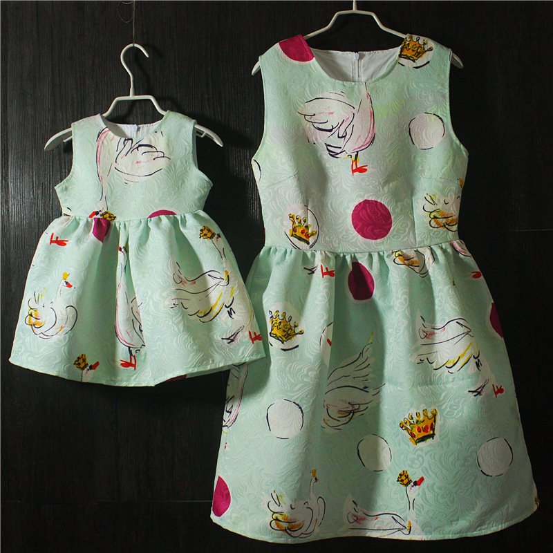 Brand Spring Summer pink green sleeveless pleated large size skirts infant sundress daughter mother and girls family look dress