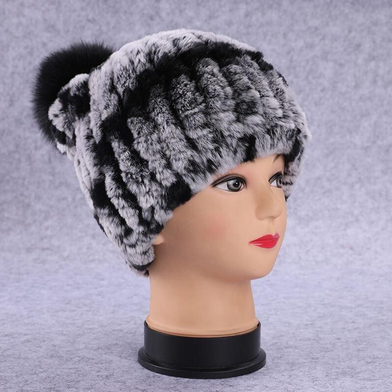 2018 Winter Rex Rabbit Hats Solid Skullies for Women Pom Pom Fox Fur Ball Female Warm Beanies Natural Fur Pompom Caps Ladies
