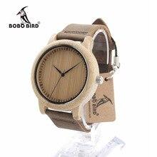 Bobo bird l19 femmes montres bambou en bois montre en cuir véritable bande quartz montre comme cadeau pour dames accepter oem relogio