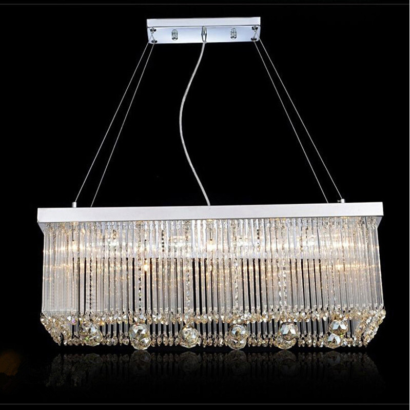 Modern fashion LED crystal chandelier stainless steel restaurant luster droplight rectangle droplight E14 lamp 110V-260V  25w restaurant crystal lamp square postmodern simple stainless steel bronze villa luxury led modern crystal chandelier for bedroom