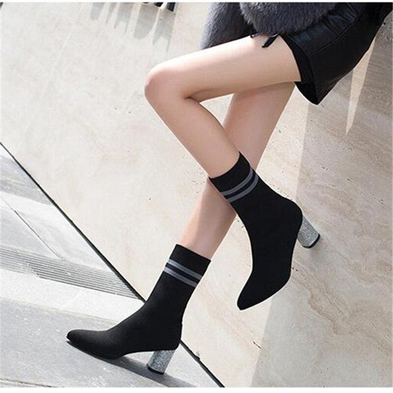 Chaussures Sur Rouge Taille Haute À Sexy Automne argent Tricoter Bottes Hiver Mode Femmes Bout Talons 35 Chaussette Slip 2018 Pointu 39 CwAxHq5w