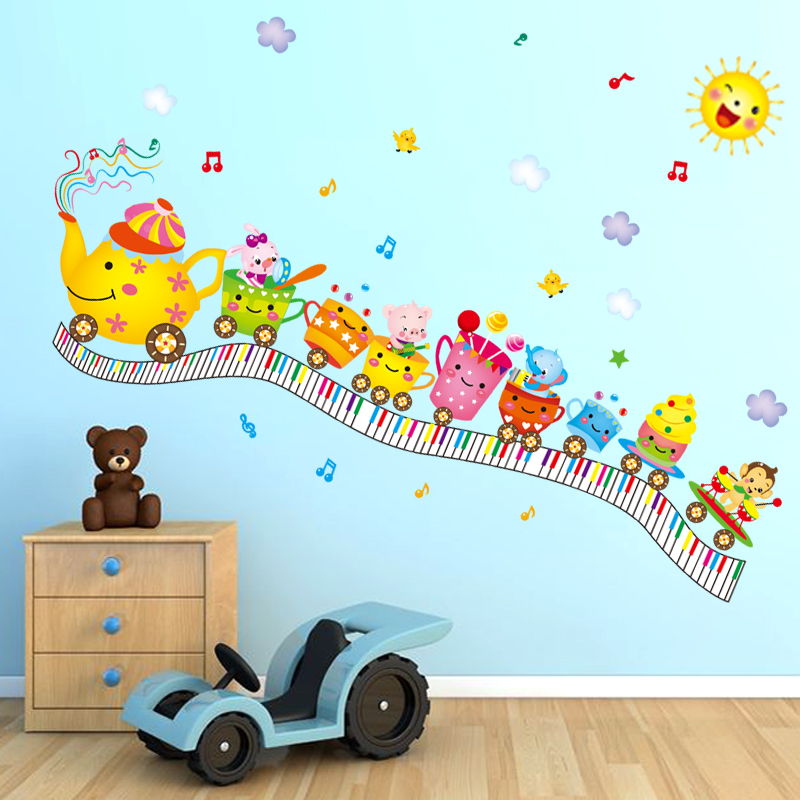 Cute Baby Room Decor Wall Stickers Cartoon Cups Train Design Sticker Lovely  Kids Bedroom Wall Decals DIY Home Decoration WT004 In Underwear From Mother  ...