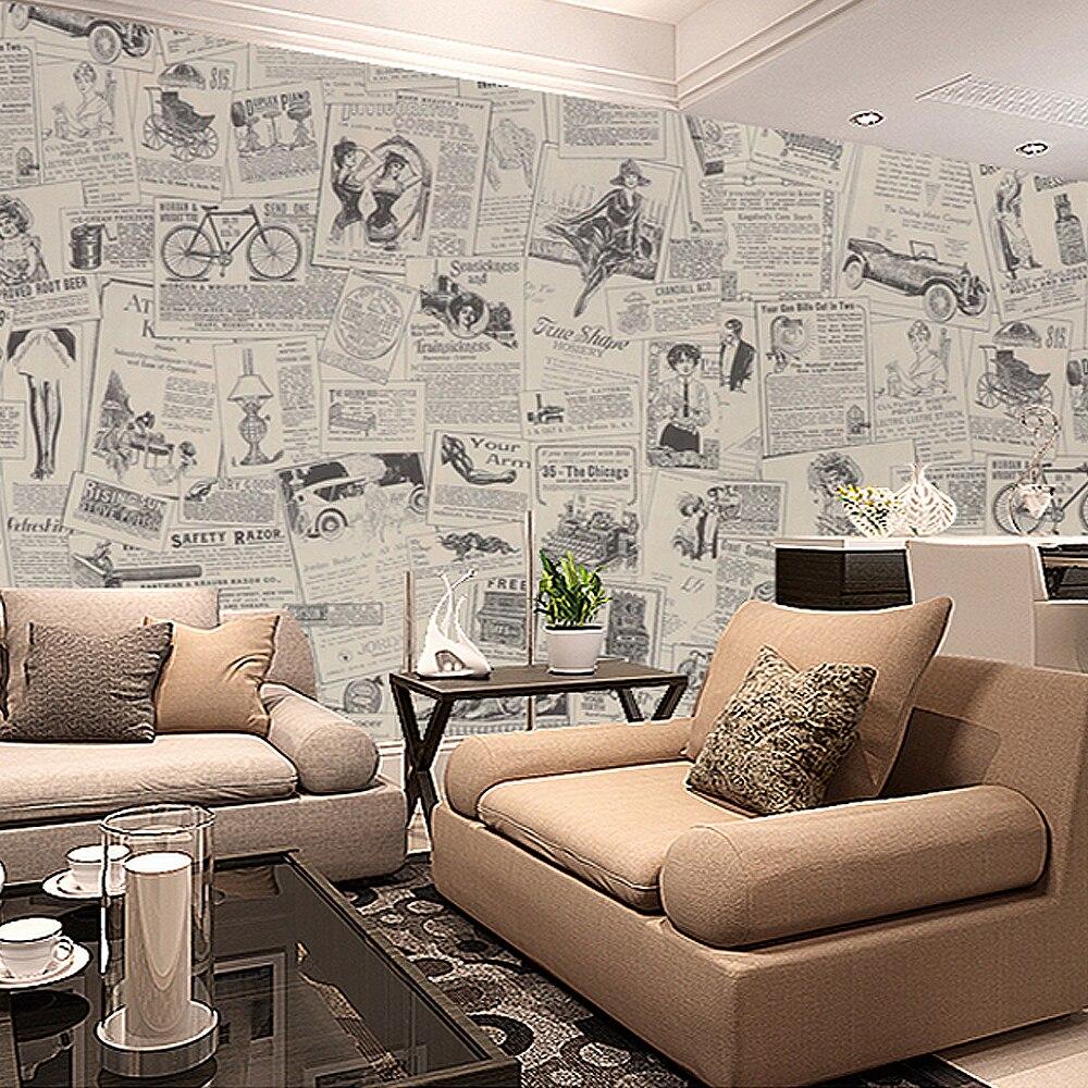 Papier Peint Pour Bureau €13.09 30% de réduction|rouleau de papier peint en pvc, papier peint rétro  adhésif pour journaux, vintage, beige, vinyle pour salon, bureau mural de