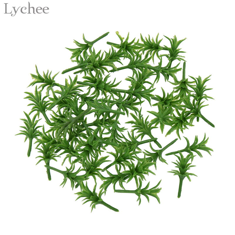 Lychee 50pcs Model Scenery Grass Ground Cover Plants Architecture Zen Garden Decor Figurines Miniatures Home Decoration