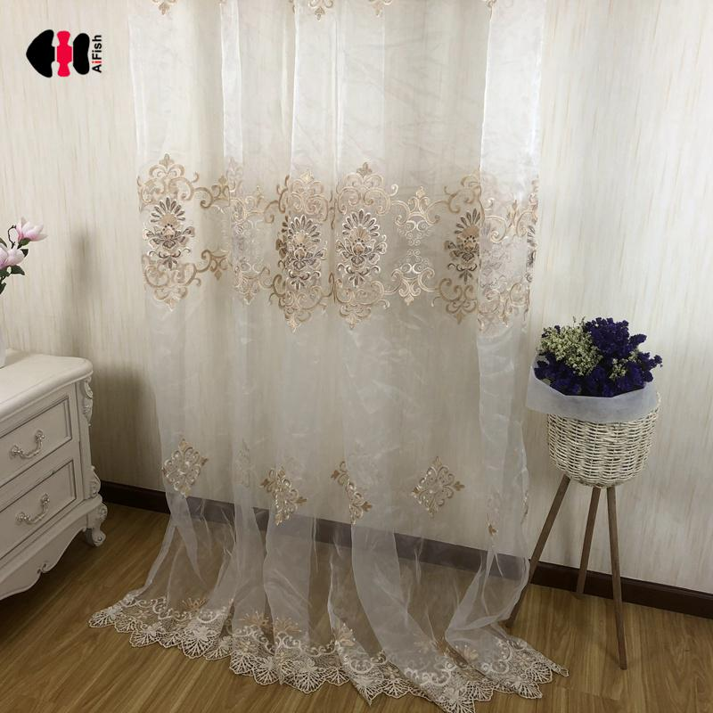 European luxury embroidered floral curtains beige white - Beige and white bedroom curtains ...