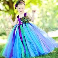Princess Tutu Pure Handmade Peacock Feather Flower Girl Dress Halloween Christmas Tutu Dresses Ball Gown Prom