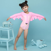 2019 Pink Bodysuit Children Kids Swimwear Girls Swan Print One Pieces Swimsuit Flower Halter Beach Pool Swimwear Bathing Suit