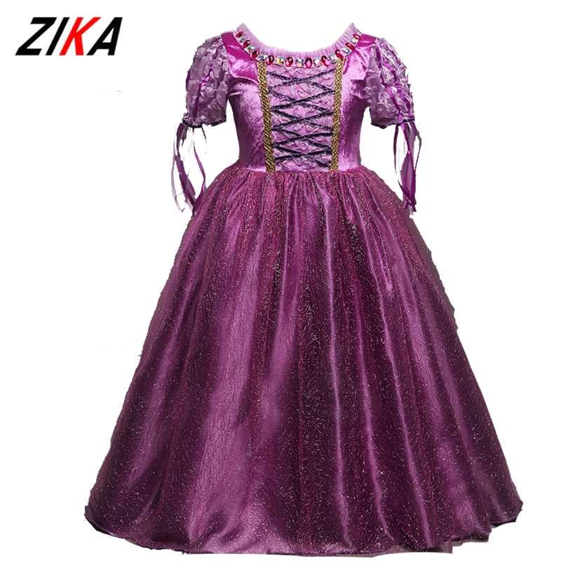 ZiKa Toddler Girls Summer Dresses 2017 New Princess Sofia Dress Costume Girls Kids Purple Short Sleeve Clothes Girl Party Dress sofia princess kids dress lovely purple