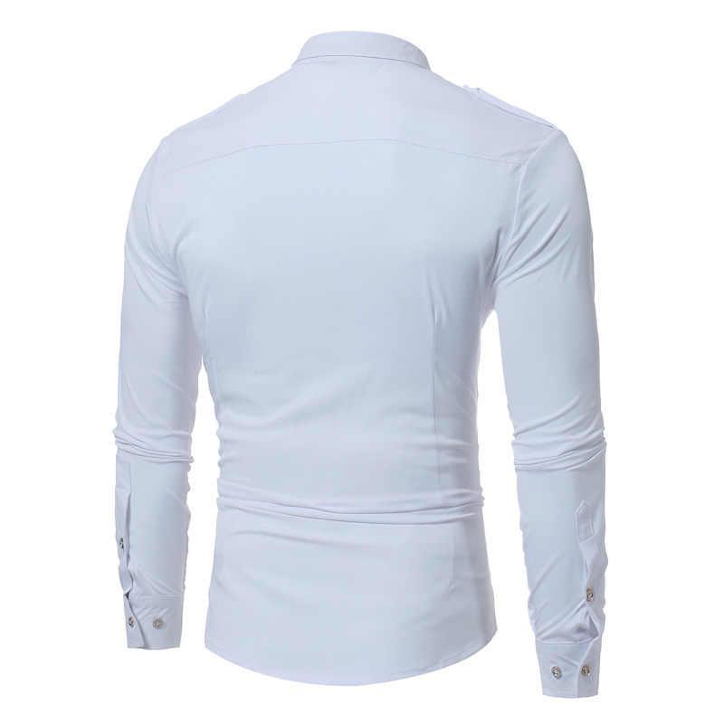 Мужская тактическая рубашка в стиле эполет 2018 новая рубашка с фальшивым галстуком, приталенная рубашка с 2 карманами, мужская деловая рубашка с длинными рукавами
