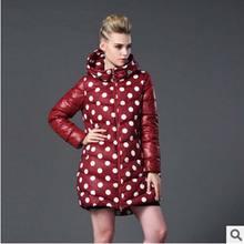 Новый 2016 зима теплая длинный пуховик Европейский высокого качества женщин мода горошек с капюшоном плюс размер 7XL вниз хлопка Пальто AE640