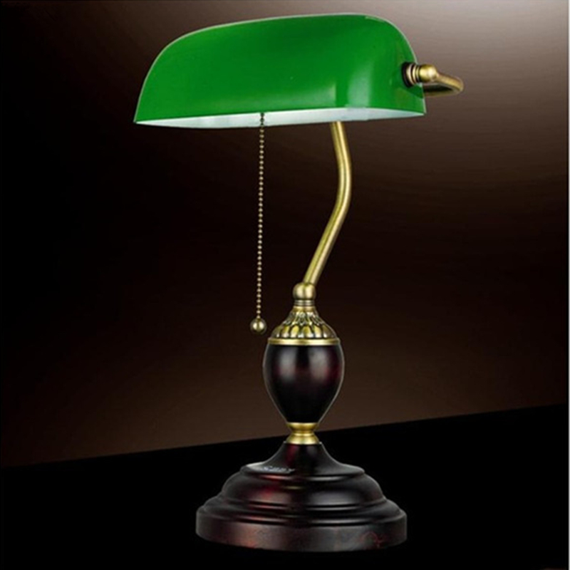 Charmant Retro Table Lights Emerald Green Glass Power Bank Office Desk Lamp Red Wood  Vintage Reading Light Student Lampe E27 Book Lamps In Desk Lamps From  Lights ...