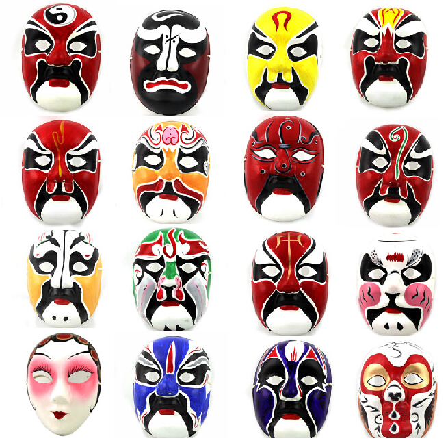 5 PCS Hand painted Plaster Paper Pulp Full Face Mask Halloween Peking Opera Party Masks Awful Chinese Top quality