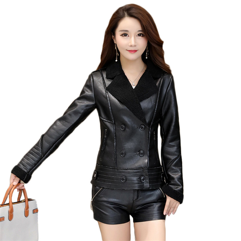 .Faux   Leather   Coat Women Black Green Plus Size PU   Leather   Jacket 2019 New Autumn Winter Lamb Velvet Loose Fashion Clothing CX962