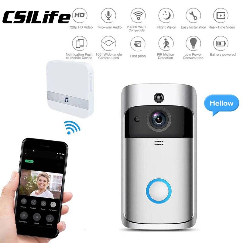 Smart Video Doorbell Camera 720p Visual Call Intercom Door Bell Infrared Night Vision Remote Record Home Security Monito