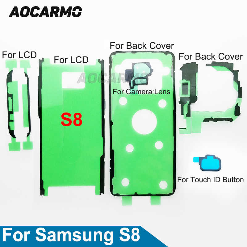 Aocarmo شاشة الكريستال السائل شاشة عودة غطاء البطارية عدسة الكاميرا ملصق لاصق مقاوم للماء شريط لاصق لسامسونج غالاكسي S8 SM-G9500