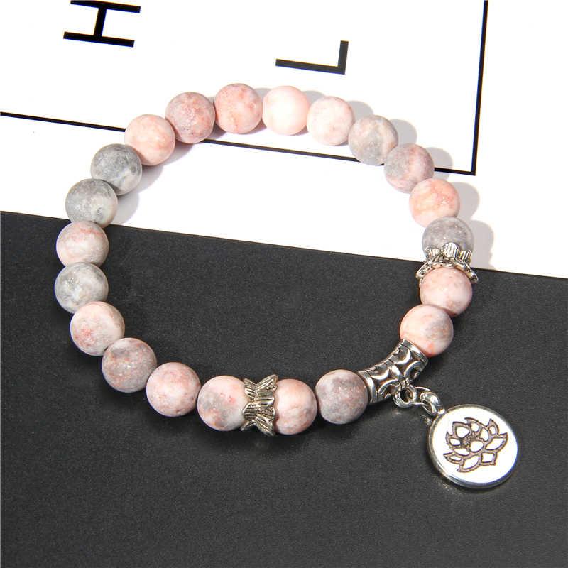 Handmade หินธรรมชาติ Lotus OHM พระพุทธรูปสร้อยข้อมือลูกปัดสีชมพู ZEBRA หิน Lotus สร้อยข้อมือผู้หญิงผู้ชายเครื่องประดับโยคะของขวัญ