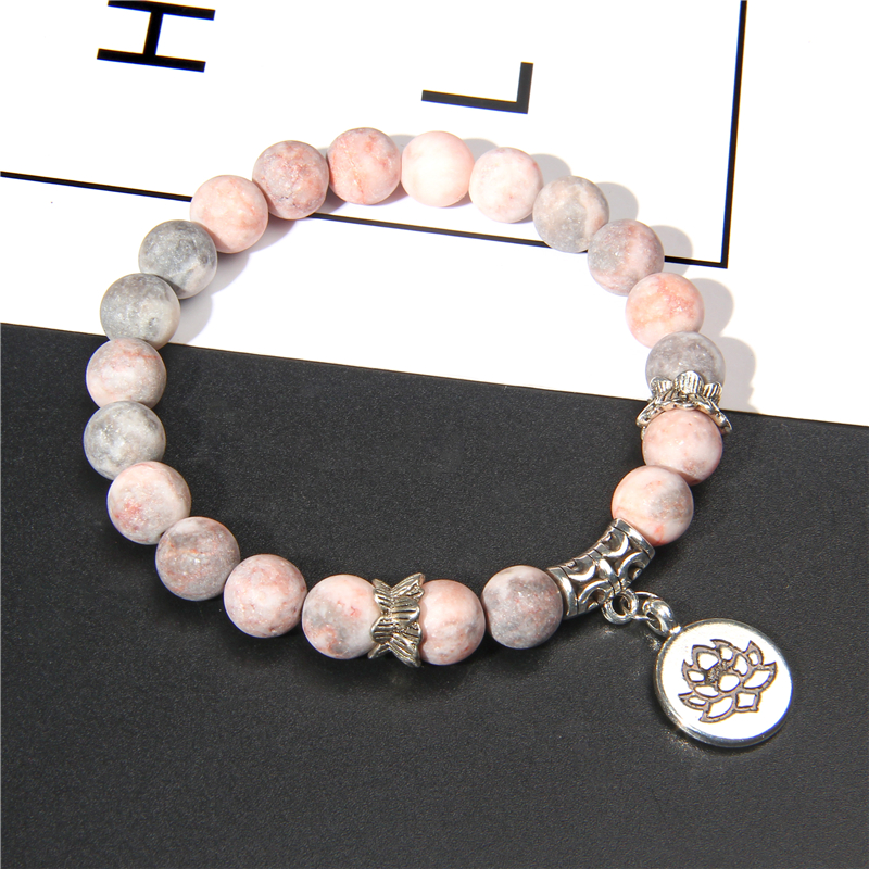 Handmade Natural Stone Lotus Ohm Buddha Beads Bracelet Pink Zebra Stone Lotus Charm Bracelet for Women Men Yoga Jewelry Gifts