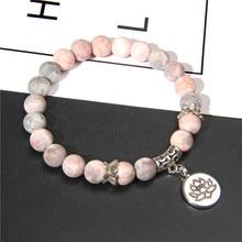 Bracelet en pierre Lotus Ohm bouddha rose, fait à la main, perles de lotus zèbre rose, breloque pour femme et homme, yoga, bijou cadeau de yoga