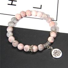 Pulsera hecha a mano de piedra Natural Lotus Ohm Buddha, Pulsera Rosa de piedra de cebra con encanto de loto para mujeres y hombres, regalos de joyería de Yoga