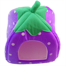 2016 New Soft Strawberry Pet Bed House Kennel Warm Cushion Basket Purple – L