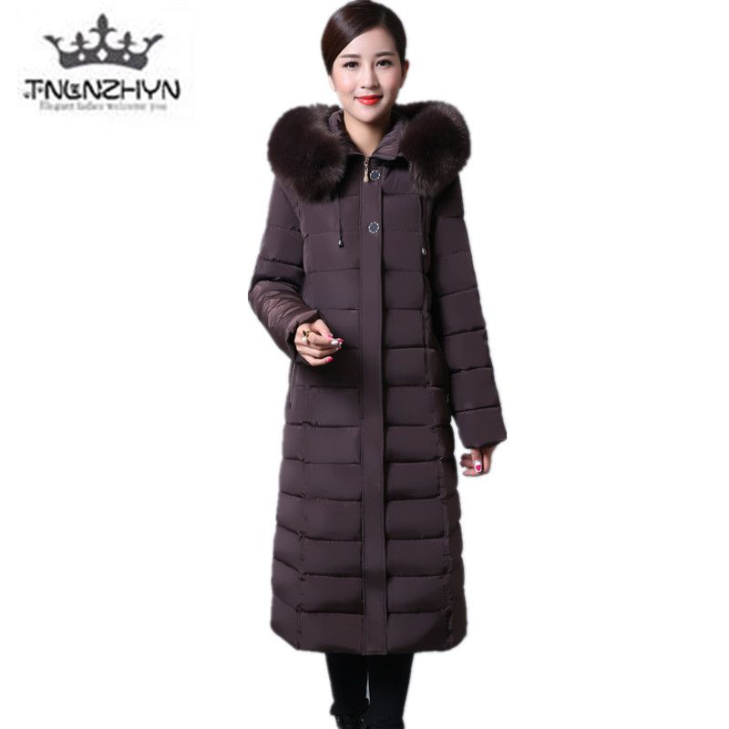 2017 Women Winter Jacket Coat Solid color Hooded longer Warm Down cotton Jacket Thicken Fur collar Plus size coat Parka clothing long parka women winter jacket plus size 2017 new down cotton padded coat fur collar hooded solid thicken warm overcoat qw701