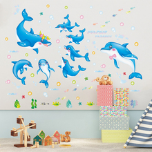 Blue Color Dolphins Wall Stickers PVC Material Creative DIY Animals Wall Art for Kids Room Nursery Decoration
