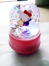 Cute cat colorful lights rotating music box