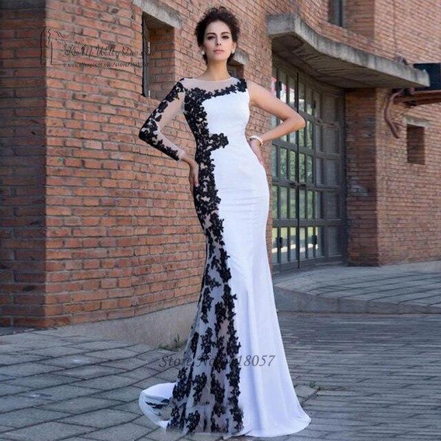 Robe de Soiree Longue White Black Mermaid Evening Dresses Long Sleeve Prom  Dress 2017 Formal Women Gowns Lace Abiye Avondjurk fc0149be6310