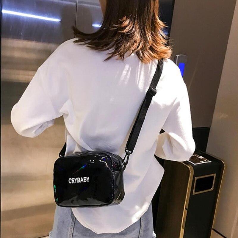 HTB1lSy7bCSD3KVjSZFKq6z10VXaF Yogodlns 2019 Holographic Laser Backpack Embroidered Crybaby Letter Hologram Backpack set School Bag +shoulder bag +penbag 3pcs