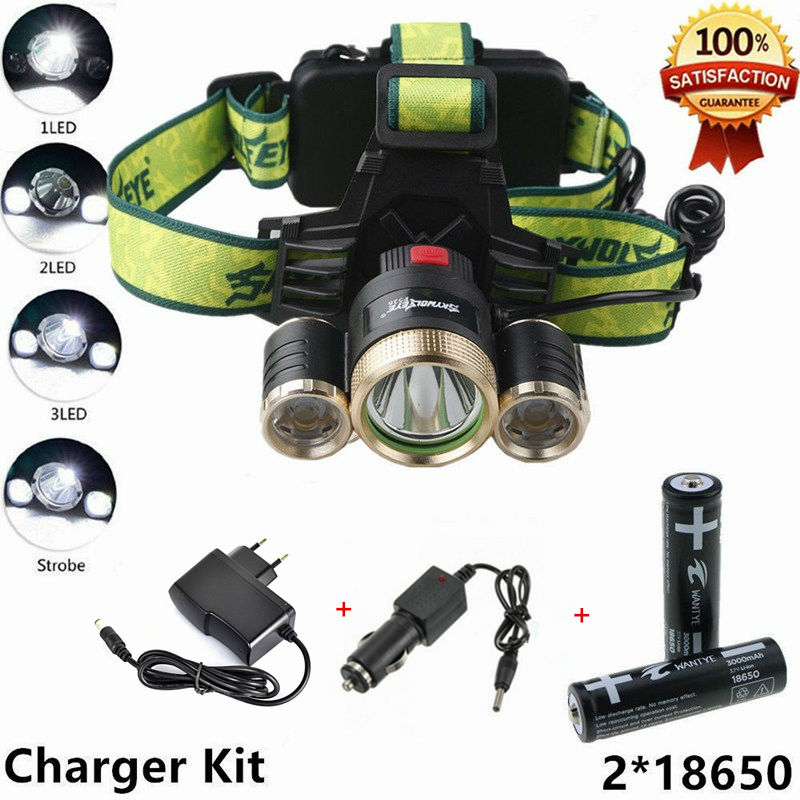 HOT New 4 Modes 6000Lm Headlight Headlamp Camp XML T6 LED Flashlight Super Bright Hunting Lamp Head Light 18650 Charger r3 2led super bright mini headlamp headlight flashlight torch lamp 4 models