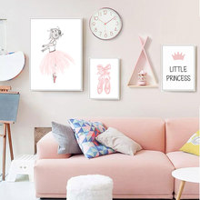 Girl Poster Pink Picture Canvas Painting Fairy For Kids Room Posters And Prints  Nordic Nursery Unframed