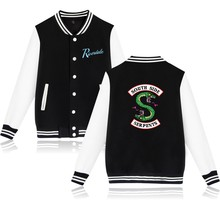 Riverdale Hot TV Show SOUTH SIDE SERPENTS Baseball Jackets Couple's Fashion New Print Snake Autumn Winter Coats Jackets White(China)
