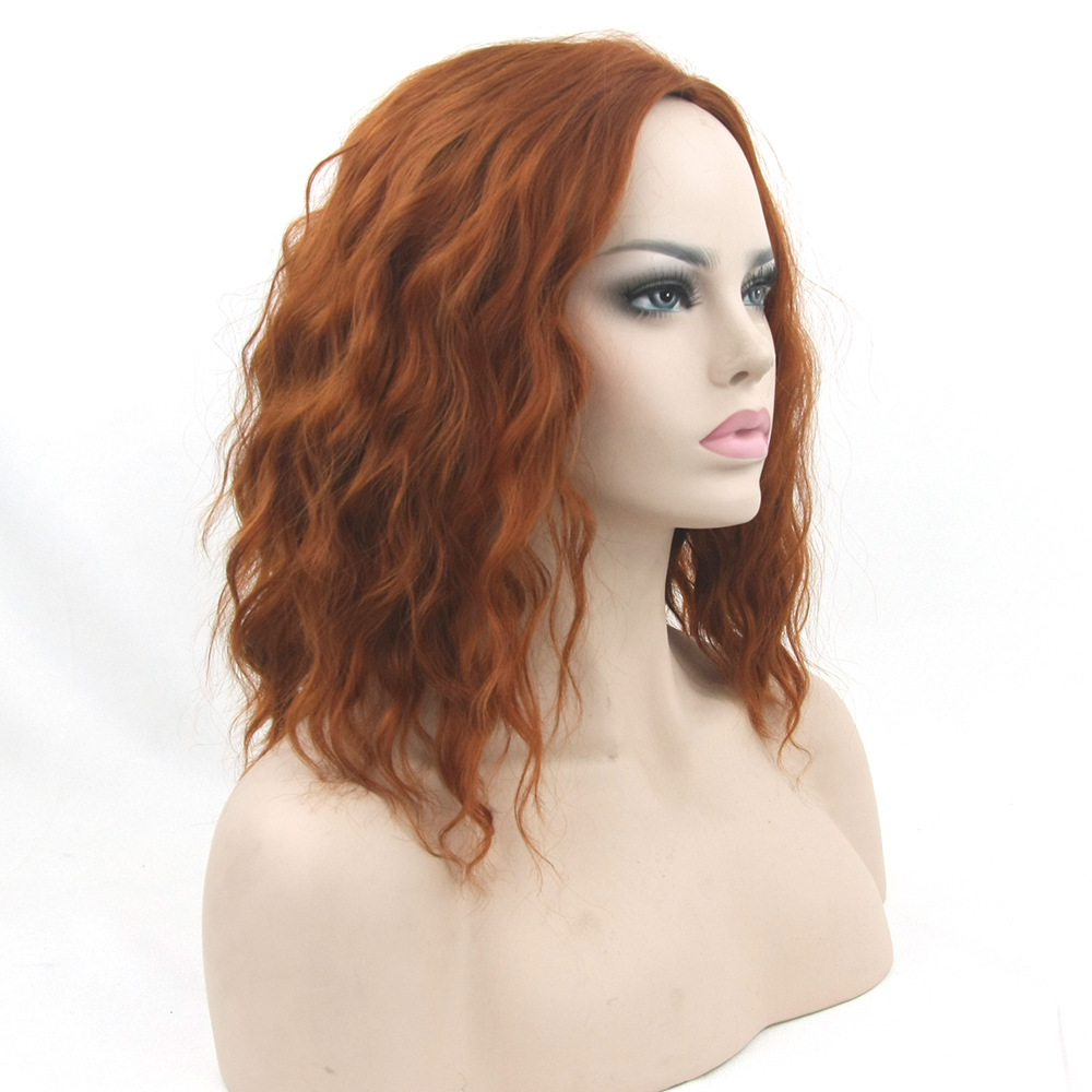 Soloowigs Curly Women Middle Part Cosplay None Lace Wigs High Temperature Fiber Synthetic Hair Red Brown Medium Cos Hairpieces