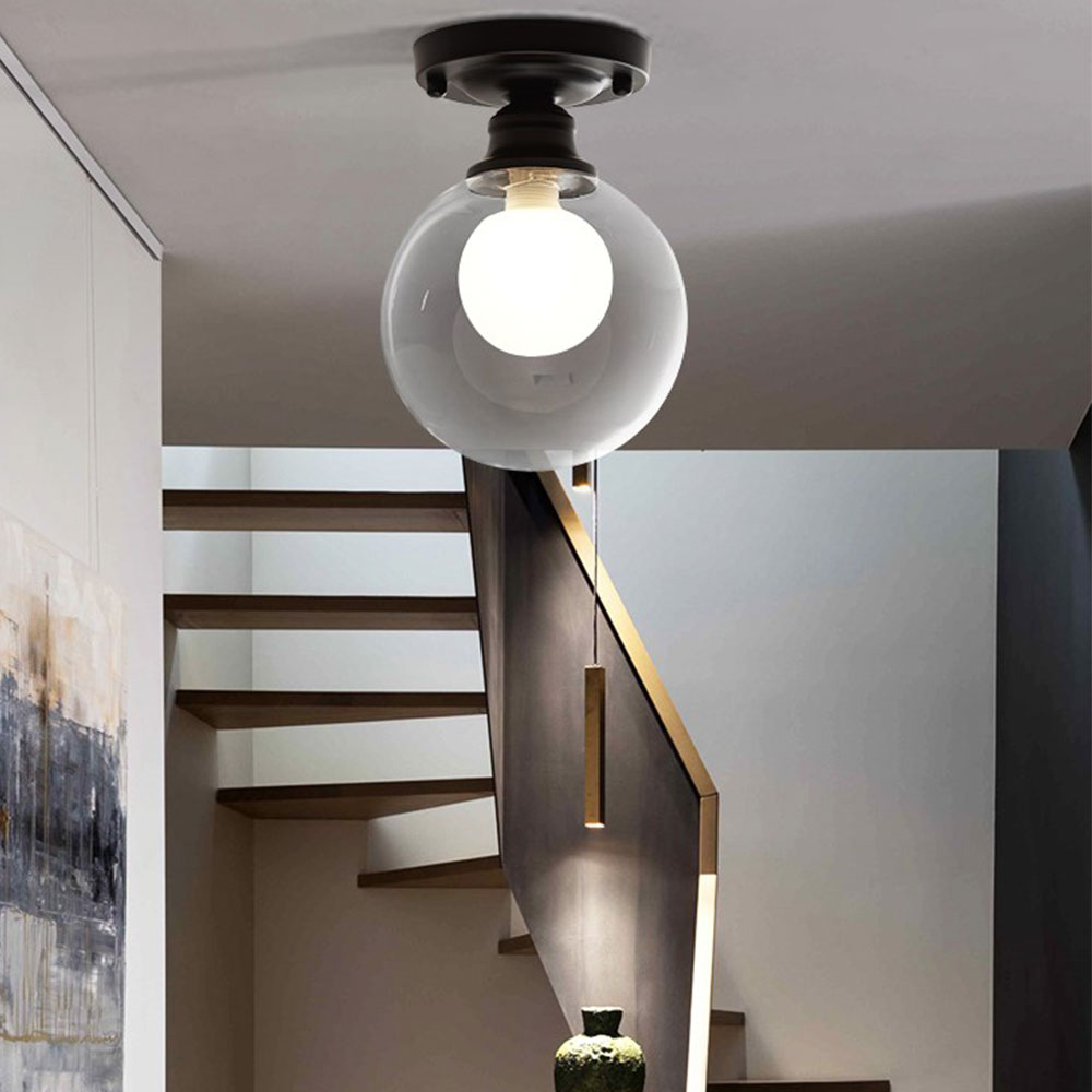 Nordic Creative Spherical glass ceiling lamp Cloakroom balcony hallway lamp Porch light G9 led