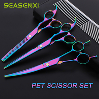 7.0 inch Dog Scissors Set Pet Dog Grooming Scissors Kit Straight Scissor Curved Shear Thinning Shears +Comb Hair Cutting Tool
