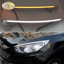 For Hyundai IX35 2010-2015 , Car Styling LED Headlight Brow Eyebrow Daytime Running Light DRL With Yellow Turn signal Light цена в Москве и Питере