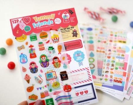 12 sheets/1set Cute Girls Yummy Friends Kawaii Paper Scrapbooking Daliy planner stickers post it sticky notes/Korea Stationery