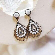 needle elegant pearl drop earrings  jewelry  rhinestone earrings  feather  trendy earrings  vintage earrings