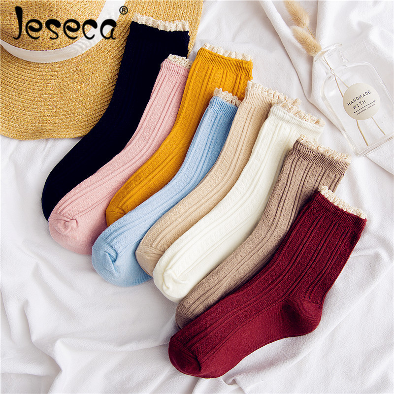 Hot Sale Breathable Lace Solid   Socks   Sweet Lady Women Combed Cotton Soft Cute Girls Handmade Lacework   Socks