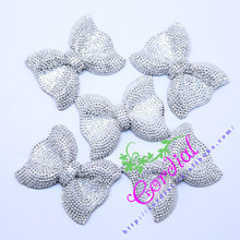 Hot Sale Cordial Design 50 Pcs Silver  Resin Rhinestone Bows For Jewelry Making Necklace Bows