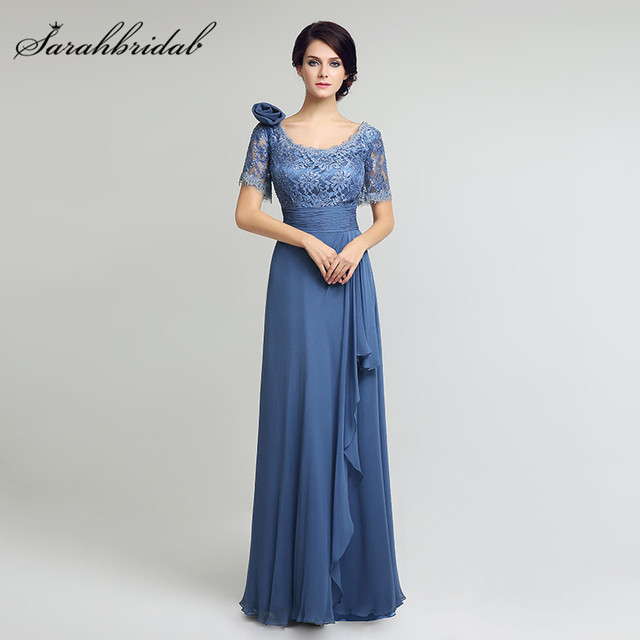 3bb7081b263 Elegant Chiffon Long Mother of the Bride Dresses Lace Top A Line Short  Sleeves Floor Length Women Formal Evening Gowns Hot LX274